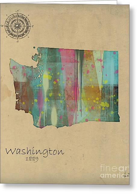 World Digital Map Greeting Cards - Washington State Map Greeting Card by Bri Buckley
