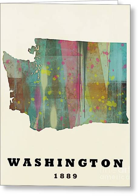 Abstract Map Greeting Cards - Washington State Map Modern Greeting Card by Bri Buckley