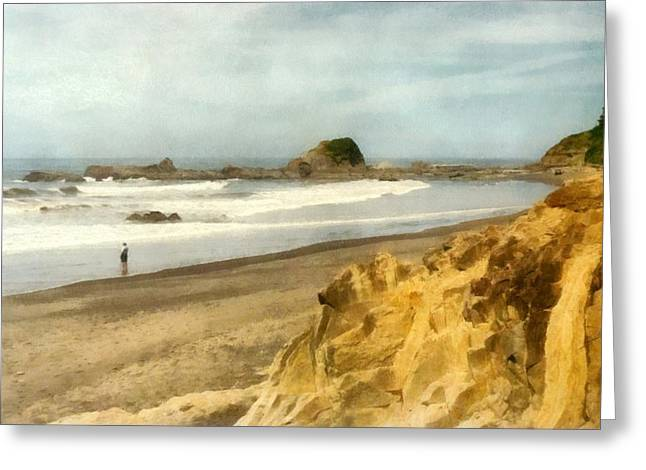 Foggy Beach Greeting Cards - Washington State Seastacks Greeting Card by Michelle Calkins