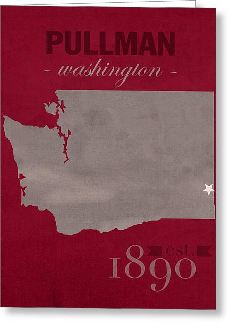 Washington State Greeting Cards - Washington State University Cougars Pullman College Town State Map Poster Series No 123 Greeting Card by Design Turnpike