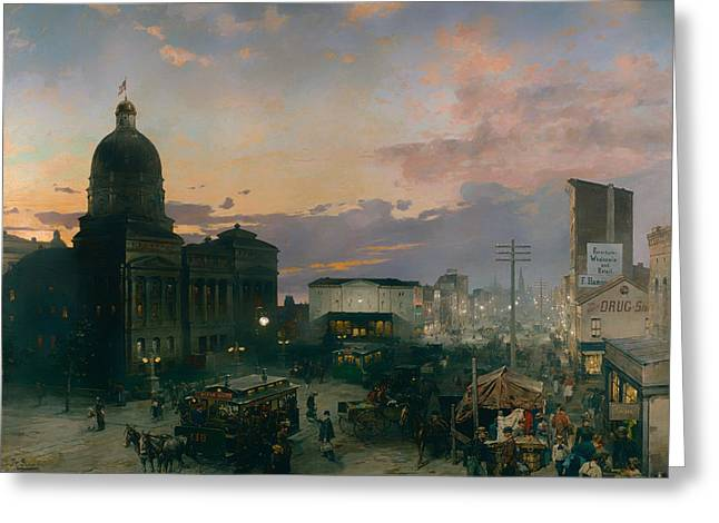 Indiana Paintings Greeting Cards - Washington Street Indianapolis at Dusk Greeting Card by Thodor Groll