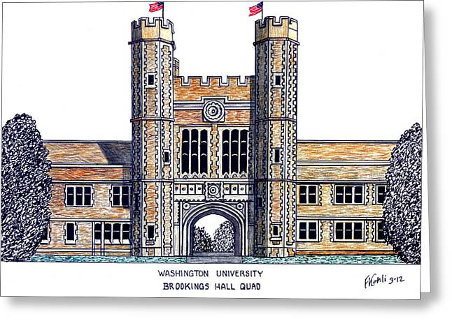Famous University Buildings Drawings Greeting Cards - Washington University St Louis Greeting Card by Frederic Kohli