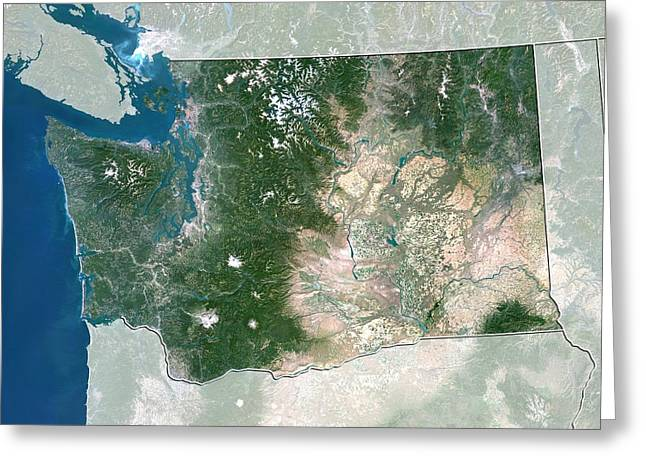Northeastern United States Greeting Cards - Washington, USA, satellite image Greeting Card by Science Photo Library