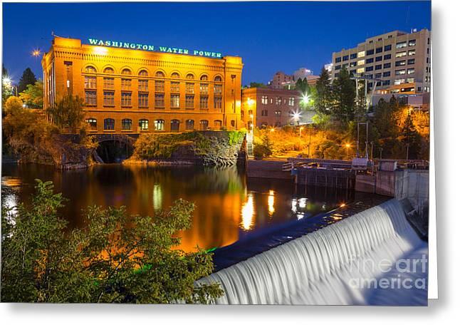 Spokane Greeting Cards - Washington Water Power Greeting Card by Inge Johnsson
