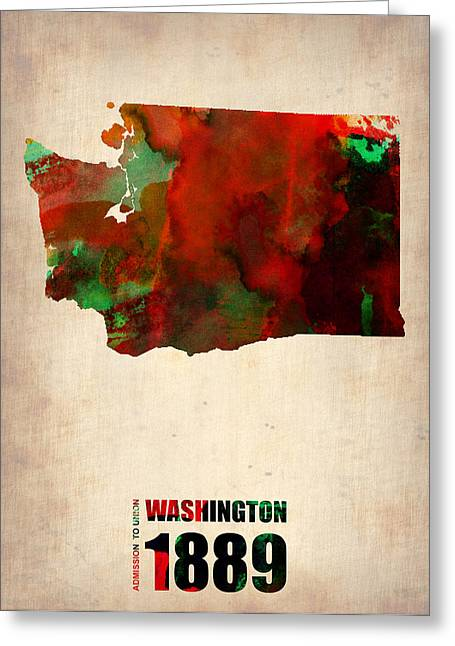 Washington State Greeting Cards - Washington Watercolor Map Greeting Card by Naxart Studio