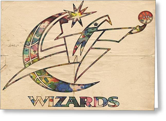 Best Sellers -  - Slamdunk Greeting Cards - Washington Wizards Poster Art Greeting Card by Florian Rodarte