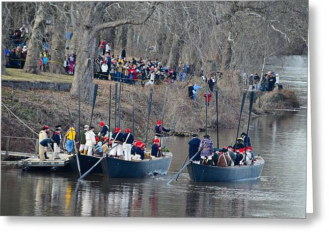 Battle Of Trenton Greeting Cards - Washingtons Crossing 2013 First Boat Away Greeting Card by Steven Richman