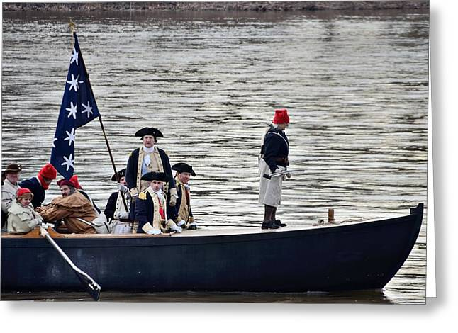 Battle Of Trenton Greeting Cards - Washingtons Crossing Washingtons Boat Greeting Card by Steven Richman