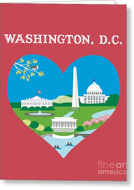 Small Canvas Greeting Cards - Washinton DC Heart Skyline Greeting Card by Karen Young