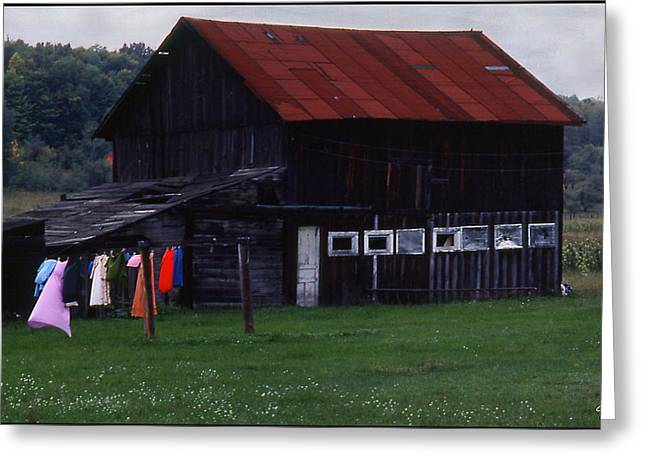 Washlines Greeting Cards - Washline and Barn Greeting Card by Wayne King