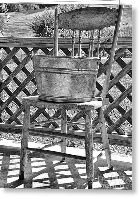 Washtubs Greeting Cards - Washtub on Antique Chair Greeting Card by Thomas R Fletcher