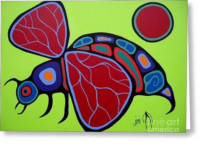 Shaman Art Greeting Cards - Wasp Greeting Card by Jim Oskineegish