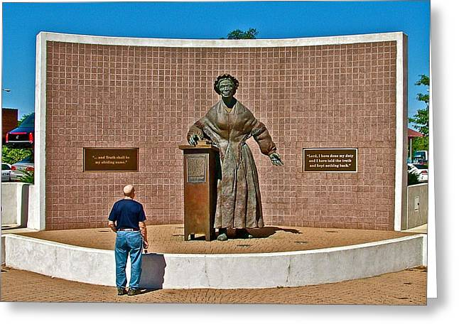 Wasp Learns The Truth From Sojourner Truth In Monument Park In Battle Creek-mi  Greeting Card by Ruth Hager