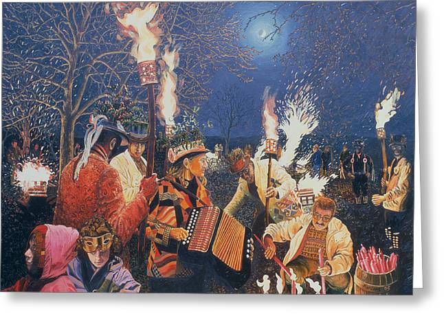 Eve Greeting Cards - Wassailing In Herefordshire, 1995 Oil On Board Greeting Card by Huw S. Parsons