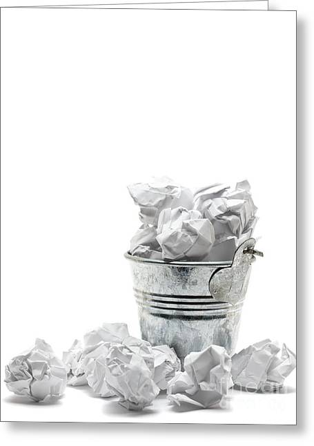 Business Sculptures Greeting Cards - Waste basket with crumpled papers Greeting Card by Shawn Hempel