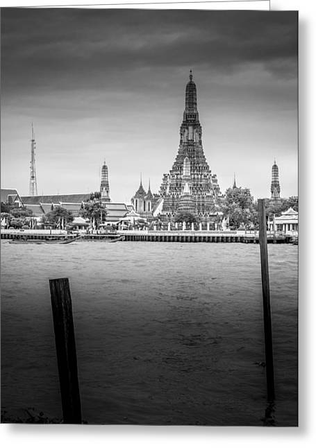 Asien Greeting Cards - Wat Arun - The Temple of Dawn - Chao Phraya River Bangkok Thailand Greeting Card by Colin Utz