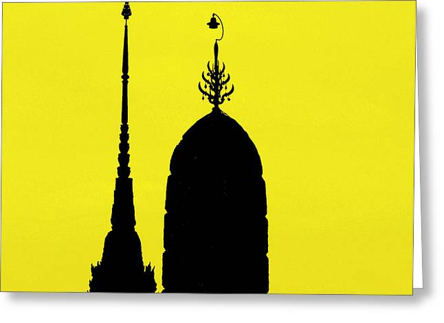 Two Towers Greeting Cards - Wat Arun - Temple of the Dawn Greeting Card by A Rey
