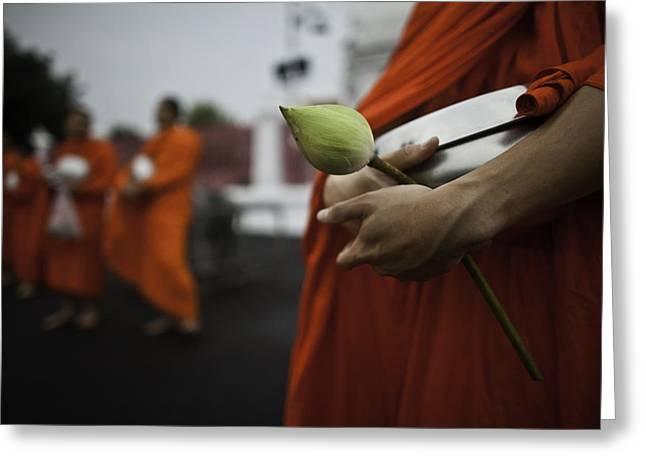 Begging Bowl Greeting Cards - Wat Bencha Gathering Greeting Card by David Longstreath