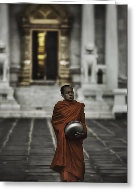 Begging Bowl Greeting Cards - Wat Bencha Monk Greeting Card by David Longstreath