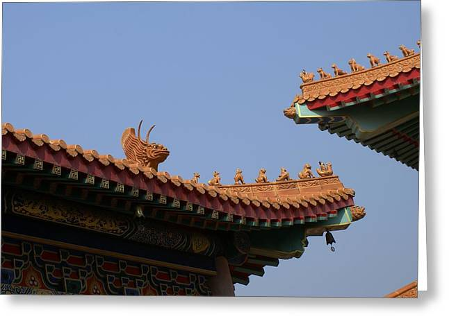 Asean Greeting Cards - Wat Borom Roof Sculpure Greeting Card by Gregory Smith