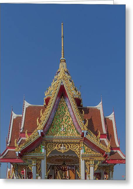 Thon Greeting Cards - Wat Bukkhalo Central Roof-top Pavilion Gable DTHB1810 Greeting Card by Gerry Gantt