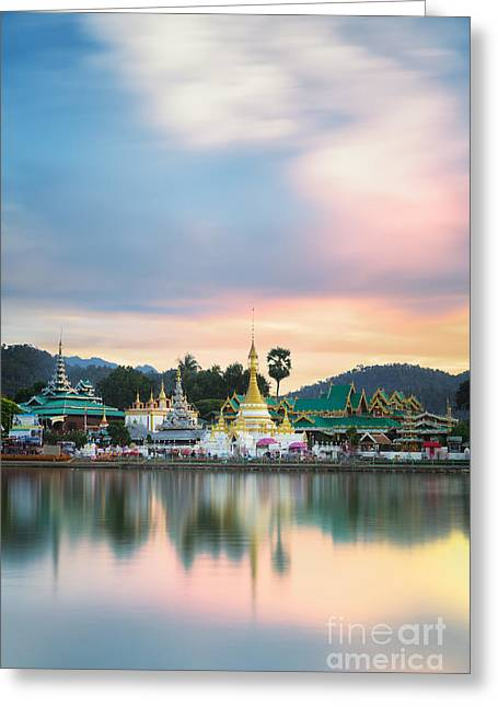 Kham Greeting Cards - Wat Jongklang and Wat Jongkham Greeting Card by Anek Suwannaphoom