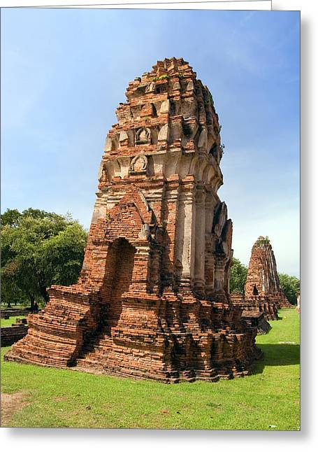 Ayutthaya Greeting Cards - Wat Mahathat Temple Greeting Card by Artur Bogacki