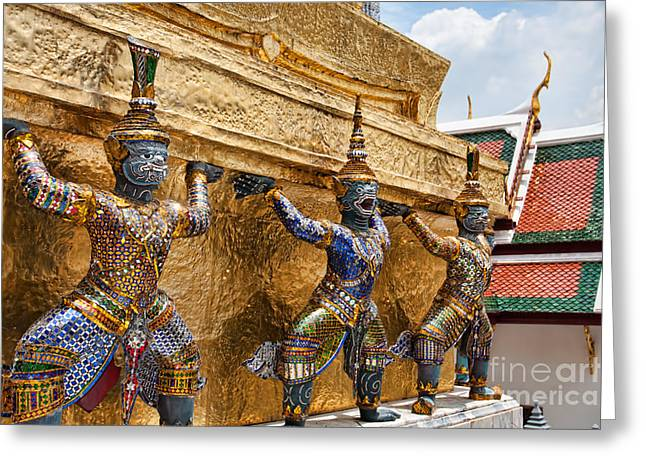 Asien Greeting Cards - Wat Phra Kaew Greeting Card by Joerg Lingnau
