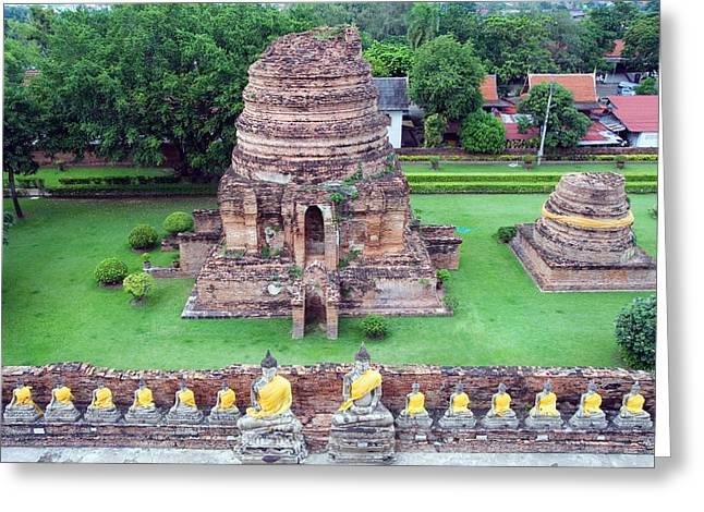 Ayutthaya Greeting Cards - Wat Yai Chai Mongkol Greeting Card by Artur Bogacki