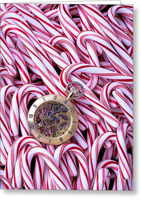 Piled Greeting Cards - Watch and candy canes Greeting Card by Garry Gay