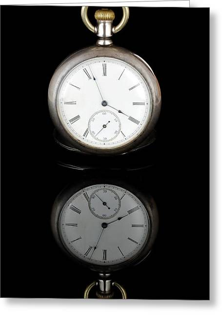 Timepieces Greeting Cards - Watch And Reflection Greeting Card by Jim Hughes