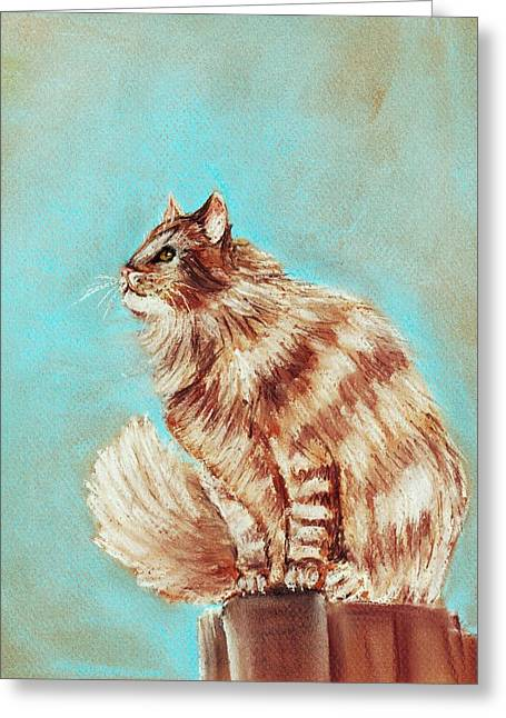 Feline Pastels Greeting Cards - Watch Cat Greeting Card by Anastasiya Malakhova