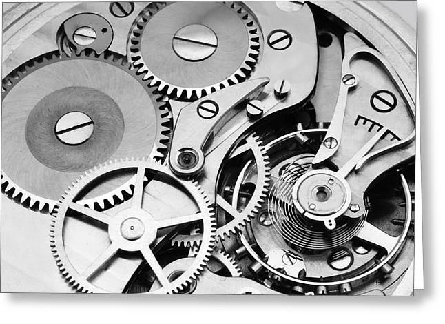Clock Photographs Greeting Cards - Watch Mechanism Greeting Card by Jim Hughes