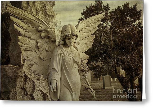 Recently Sold -  - Seraphim Angel Greeting Cards - Watch Over Me Greeting Card by Terry Rowe