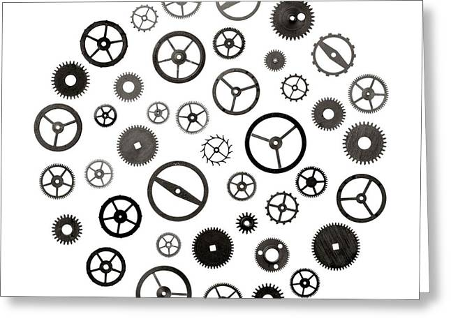 Cogs Greeting Cards - Watch Parts Greeting Card by Jim Hughes