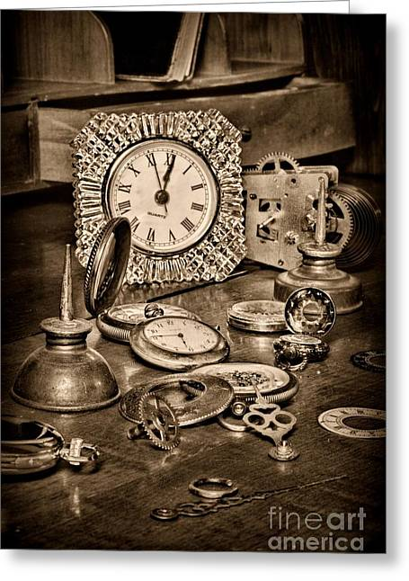 Watchmaker Greeting Cards - Watch Repair in Black and White	 Greeting Card by Paul Ward