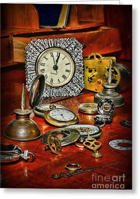 Watchmaker Greeting Cards - Watch Repair Greeting Card by Paul Ward