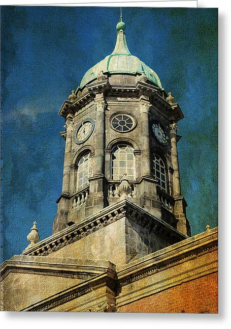 Watch Tower Greeting Cards - Watch Tower of Dublin Castle. Streets of Dublin. Painting Collection Greeting Card by Jenny Rainbow