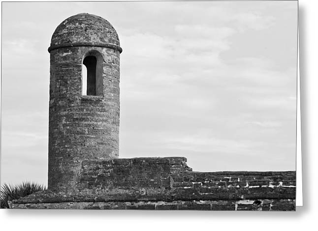 Watch Tower Greeting Cards - Watch Tower Watching B and W Greeting Card by Rich Franco