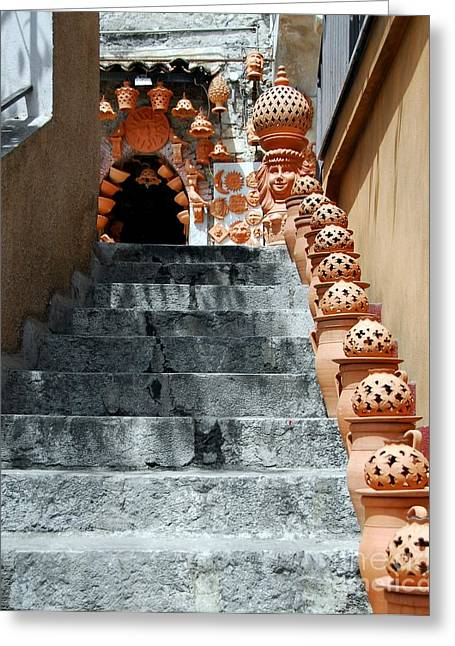 Italian Pottery Greeting Cards - Watch Your Step 1 Greeting Card by Mel Steinhauer