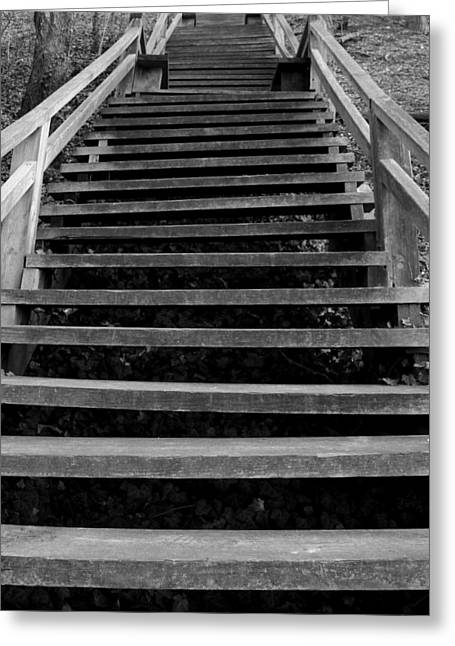 Wooden Stairs Greeting Cards - Watch Your Step Greeting Card by Bob Slitzan