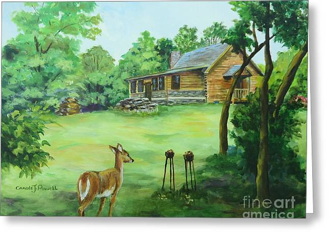 Log Cabins Greeting Cards - Watchful Eye Greeting Card by Carole Powell