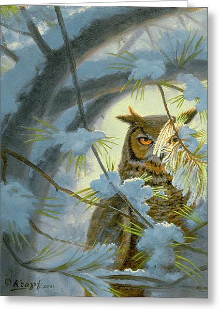 Great-horned Owls Greeting Cards - Watchful Eye-Owl Greeting Card by Paul Krapf