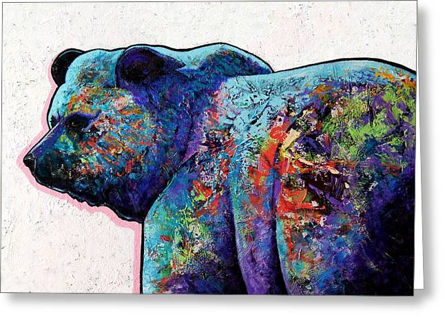 Winter Landscape With Animals Greeting Cards - Watchful Eyes - Grizzly Bear Greeting Card by Joe  Triano