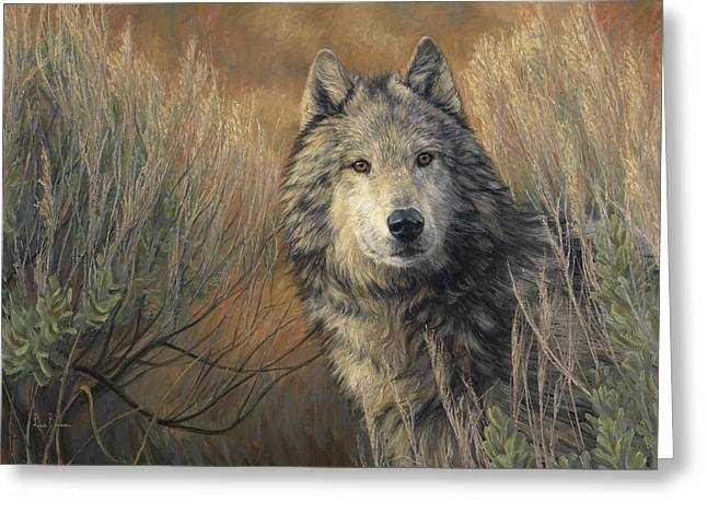 Outdoors Paintings Greeting Cards - Watchful Greeting Card by Lucie Bilodeau