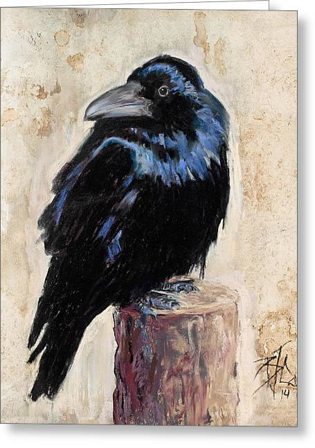 Raven Pastels Greeting Cards - Watching and Waiting Greeting Card by Billie Colson
