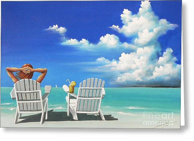 Watching Clouds Greeting Card by Susi Galloway
