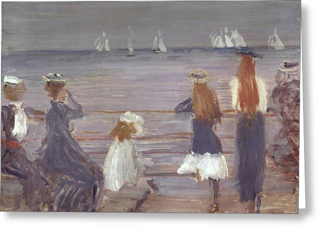 Yacht Paintings Greeting Cards - Watching Cowes Regatta, 1892 Greeting Card by Philip Wilson Steer