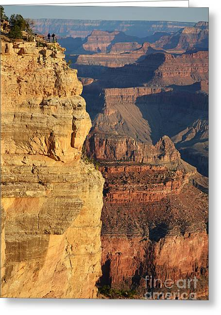 Grand Canyon Greeting Cards - Watching Dawn Break over Grand Canyon National Park Vertical Greeting Card by Shawn O
