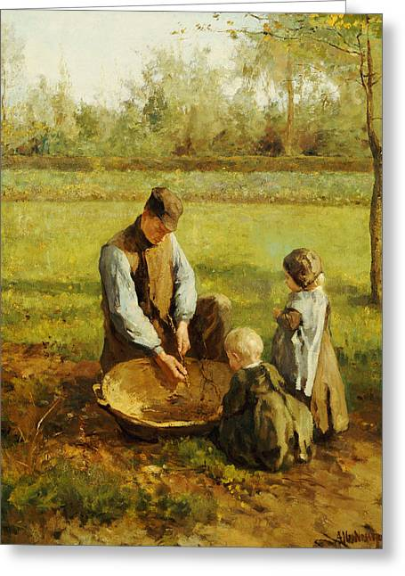 Daddy Greeting Cards - Watching Father Work Greeting Card by Albert Neuhuys
